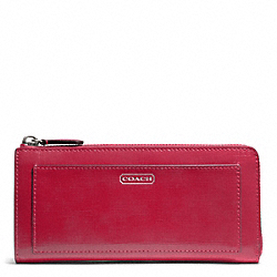 COACH F50438 Darcy Patent Leather Slim Zip SILVER/RED
