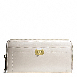 COACH F50445 Campbell Turnlock Leather Accordion Zip