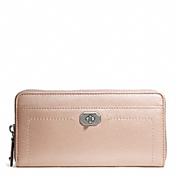 COACH F50445 Campbell Turnlock Leather Accordion Zip SILVER/BLUSH