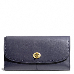 COACH F50448 Taylor Leather Checkbook Wallet BRASS/MIDNIGHT