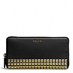 STUDDED LEATHER ACCORDION ZIP WALLET - f50467 - AB/BLACK
