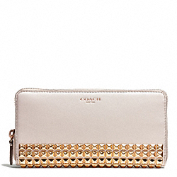 STUDDED LEATHER ACCORDION ZIP WALLET - f50467 - 32178