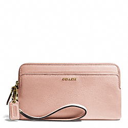 MADISON LEATHER DOUBLE ZIP WALLET - f50468 - LIGHT GOLD/PEACH ROSE