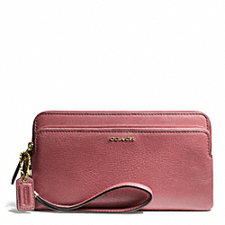 MADISON LEATHER DOUBLE ZIP WALLET - f50468 - LIGHT GOLD/ROUGE