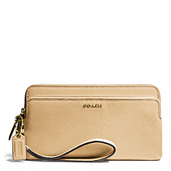 COACH F50468 Madison Double Zip Wallet In Leather LIGHTGOLD/TAN