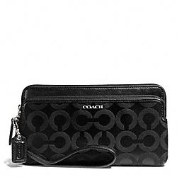 COACH F50476 Madison Double Zip Wallet In Op Art Sateen Fabric