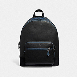 WEST BACKPACK WITH COACH GRAFFITI - F50482 - BLACK MULTI/BLACK ANTIQUE NICKEL