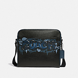 CHARLES CAMERA BAG WITH COACH GRAFFITI - F50483 - BLACK MULTI/BLACK ANTIQUE NICKEL
