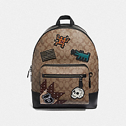KEITH HARING WEST BACKPACK IN SIGNATURE CANVAS WITH PATCHES - F50484 - TAN/BLACK ANTIQUE NICKEL