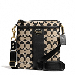 COACH F50496 - PRINTED SIGNATURE FABRIC SWINGPACK  BRASS/KHAKI BLACK/BLACK