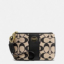 COACH F50497 Printed Signature Small Wristlet BRASS/KHAKI BLACK/BLACK