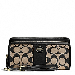 COACH F50500 Printed Signature Double Zip Accordion Wallet