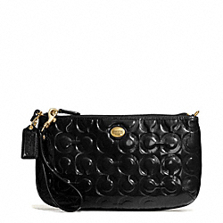 COACH F50539 Peyton Op Art Embossed Patent Large Wristlet BRASS/BLACK