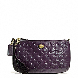 COACH F50539 Peyton Op Art Embossed Patent Large Wristlet BRASS/PURPLE