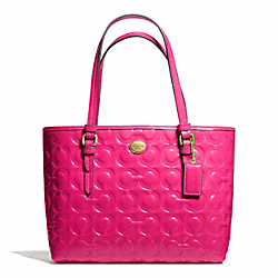 COACH F50540 Peyton Op Art Embossed Patent Top Handle Tote BRASS/POMEGRANATE