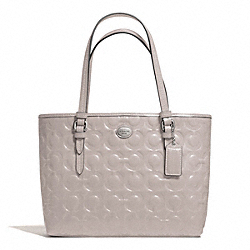 COACH F50540 Peyton Op Art Embossed Patent Top Handle Tote SILVER/PUTTY