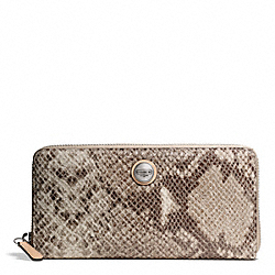 COACH F50542 Signature Stripe Embossed Exotic Accordion Zip