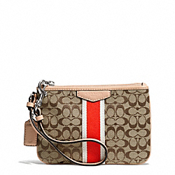COACH F50594 Signature Stripe 6cm Small Wristlet