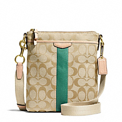 COACH F50600 - SIGNATURE STRIPE NORTH/SOUTH SWINGPACK BRASS/KHAKI/EMERALD