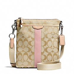 COACH F50600 - SIGNATURE STRIPE NORTH/SOUTH SWINGPACK SILVER/LIGHT KHAKI/SHELL PINK