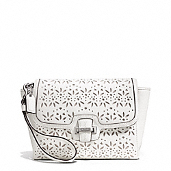 COACH F50632 - TAYLOR EYELET LEATHER FLAP CLUTCH SILVER/IVORY