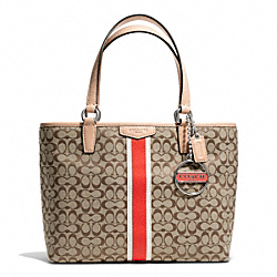 COACH F50649 - SIGNATURE STRIPE 6CM TOP HANDLE TOTE ONE-COLOR