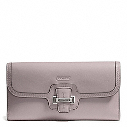 TAYLOR LEATHER CHECKBOOK WALLET - f50653 - SILVER/PUTTY
