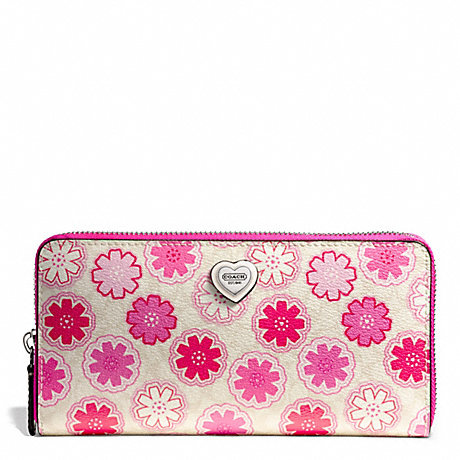 COACH f50672 FLORAL PRINT ACCORDION ZIP WALLET