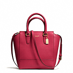 COACH F50707 Saffiano Leather Mini Tanner BRASS/SCARLET