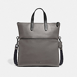GRAHAM FOLDOVER TOTE - F50712 - HEATHER GREY/BLACK ANTIQUE NICKEL