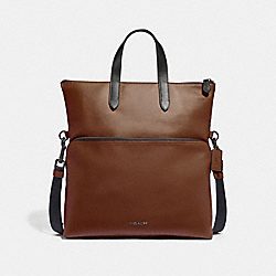COACH F50712 - GRAHAM FOLDOVER TOTE SADDLE/BLACK ANTIQUE NICKEL