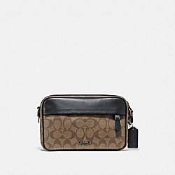 COACH F50715 Graham Crossbody In Signature Canvas TAN/BLACK ANTIQUE NICKEL