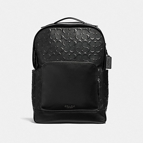 COACH F50719 GRAHAM BACKPACK IN SIGNATURE LEATHER BLACK/BLACK ANTIQUE NICKEL