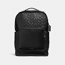 GRAHAM BACKPACK IN SIGNATURE LEATHER - F50719 - BLACK/BLACK ANTIQUE NICKEL