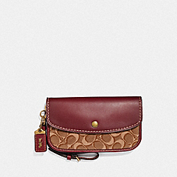 COACH F50725 - CLUTCH IN SIGNATURE JACQUARD B4/TAN SCARLET