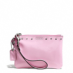 COACH F50729 Studded Liquid Gloss Small Wristlet SILVER/PALE PINK