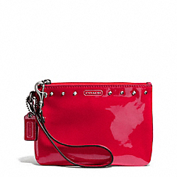 COACH F50729 Studded Liquid Gloss Small Wristlet SILVER/RED