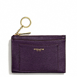 COACH F50732 Saffiano Leather Medium Skinny BRASS/BLACK VIOLET
