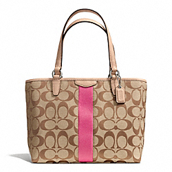 COACH F50792 Signature Stripe 12cm Top Handle Tote