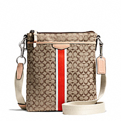 COACH F50793 Signature Stripe 6cm North/south Swingpack