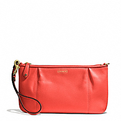 COACH F50796 Campbell Leather Large Wristlet BRASS/HOT ORANGE