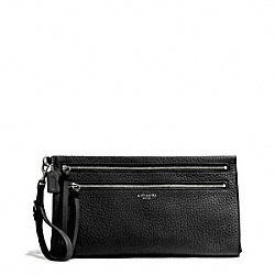 COACH BLEECKER PEBBLE LEATHER LARGE CLUTCH - SILVER/BLACK - F50810