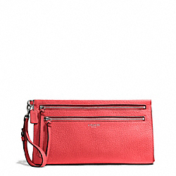 COACH F50810 - BLEECKER PEBBLED LEATHER LARGE CLUTCH SILVER/LOVE RED