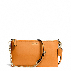 COACH F50839 Kylie Saffiano Leather Crossbody LIGHT GOLD/BRIGHT MANDARIN