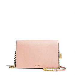 SAFFIANO LEATHER SLIM CLUTCH - f50842 - LIGHT GOLD/PEACH ROSE