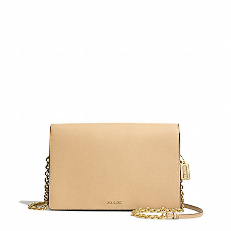 COACH F50842 SAFFIANO LEATHER SLIM CLUTCH LIGHT-GOLD/TAN
