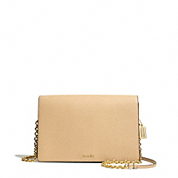 SAFFIANO LEATHER SLIM CLUTCH - f50842 - LIGHT GOLD/TAN