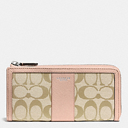 COACH F50852 Slim Zip Wallet In Signature SILVER/LT KHAKI/PEACH ROSE
