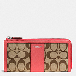 COACH F50852 Slim Zip Wallet In Signature SILVER/KHAKI/LOVE RED