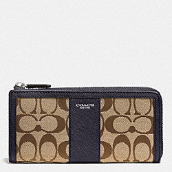 COACH F50852 Legacy Slim Zip Wallet In Signature Fabric  SILVER/KHAKI/ULTRA NAVY